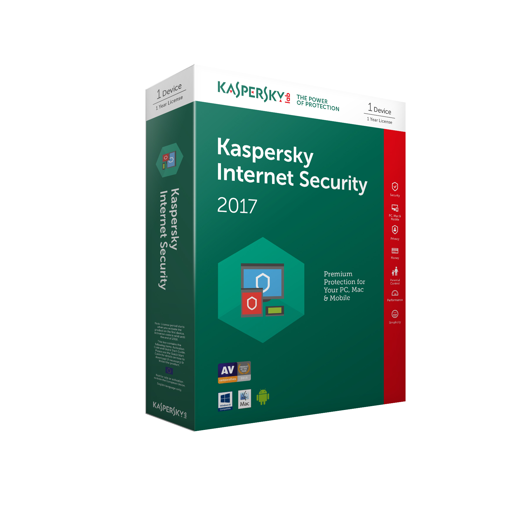 Kaspersky Lab Kaspersky Internet Security 2017 - 1 Devices 1 Year (Standard Packaging)