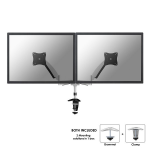 """Newstar Full Motion Dual Desk Mount (clamp & grommet) for two 10-27"""" Monitor Screens, Height Adjustable (gas spring) - Silver"""