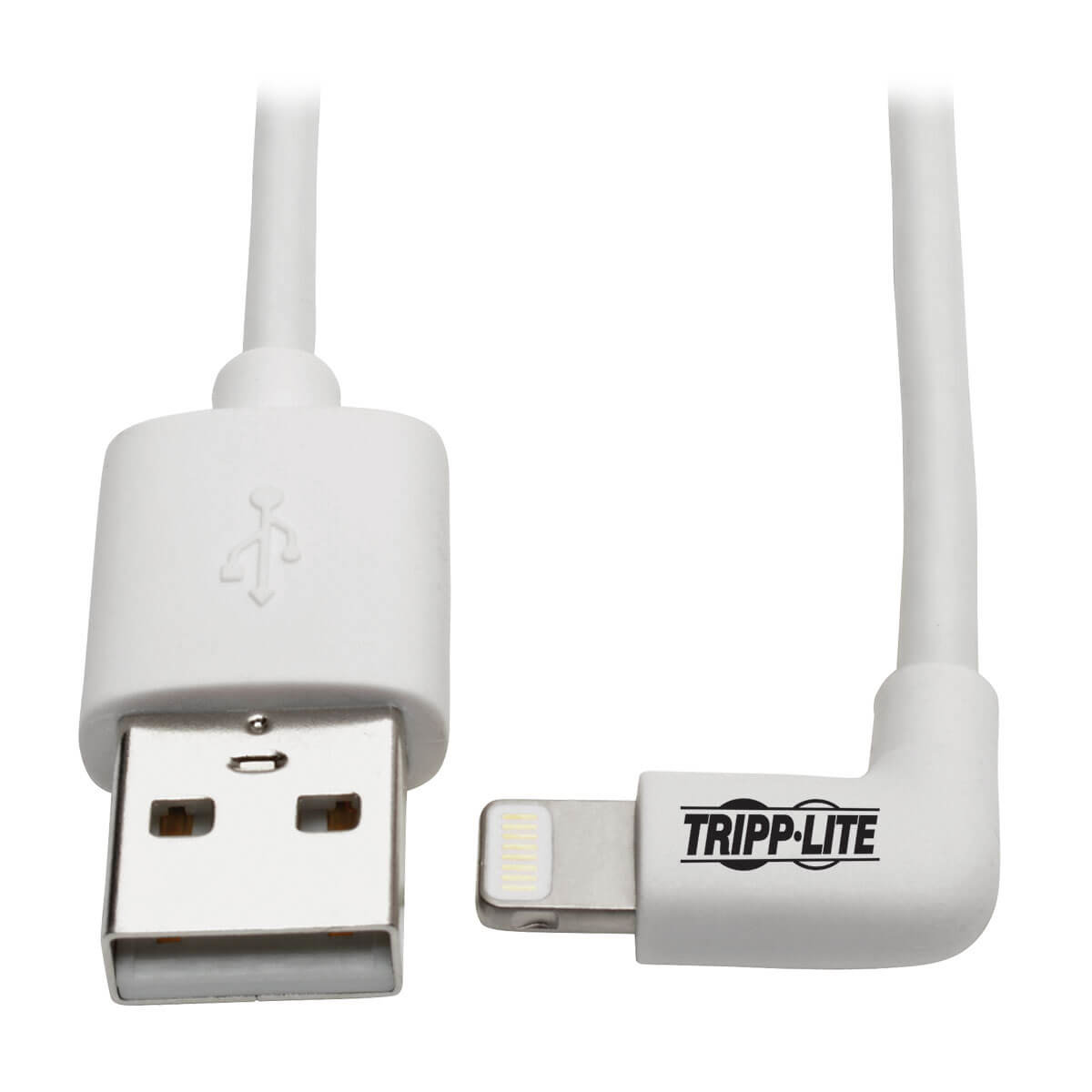Tripp Lite Right-Angle Lightning Cable, USB Type-A to Lightning, 0.91 m Cord, Reversible Lightning Plug
