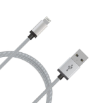 mBeat ® 2m USB Lightning Data Sync Charger Cable Silver Nylon Braided MFI Certified Apple iPhone X 11 7S 7