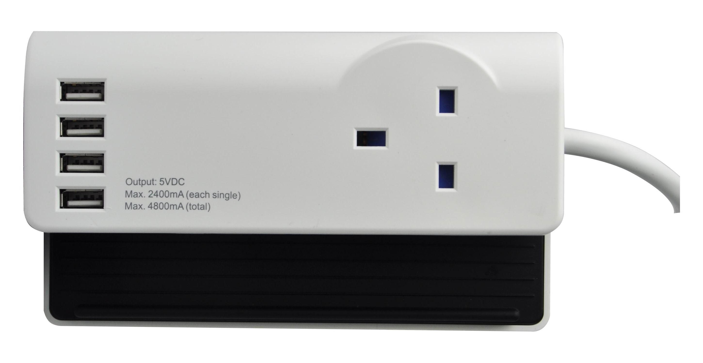 SMJ SDESKT 1.4m Black,White surge protector