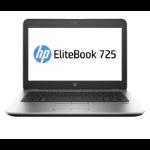 """HP EliteBook 725 G3 Notebook 12.5"""" 1366 x 768 pixels 6th Generation AMD PRO A10-Series 8 GB DDR3L-SDRAM 128 GB SSD Wi-Fi 5 (802.11ac) Windows 7 Professional Silver"""