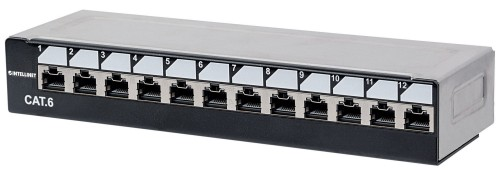 Intellinet Patch Panel, Cat6, Desktop, FTP, 12 Port, 1U, Locking Function, Shielded, Top Entry Punch Down, Black & Silver