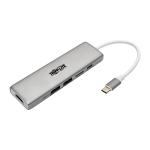 Tripp Lite USB-C Docking Station, 4K @ 30 Hz, HDMI, Thunderbolt 3, PD Charging, Micro SD – Silver