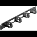 "Intellinet 19"" Cable Management Panel, 1U, 4 short plastic rings, Black"