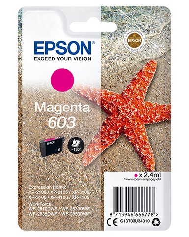 Epson C13T03U34010 (603) Ink cartridge magenta, 130 pages, 2ml