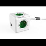 Allocacoc PowerCube Extended USB base múltiple 1,5 m 4 salidas AC Interior Verde, Blanco