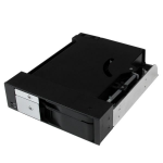 "StarTech.com Dual Bay 5.25"" Trayless Hot Swap Mobile Rack Backplane for 2.5"" and 3.5"" SATA/SAS HDD or SSD with Fan HSB2535SATBK"