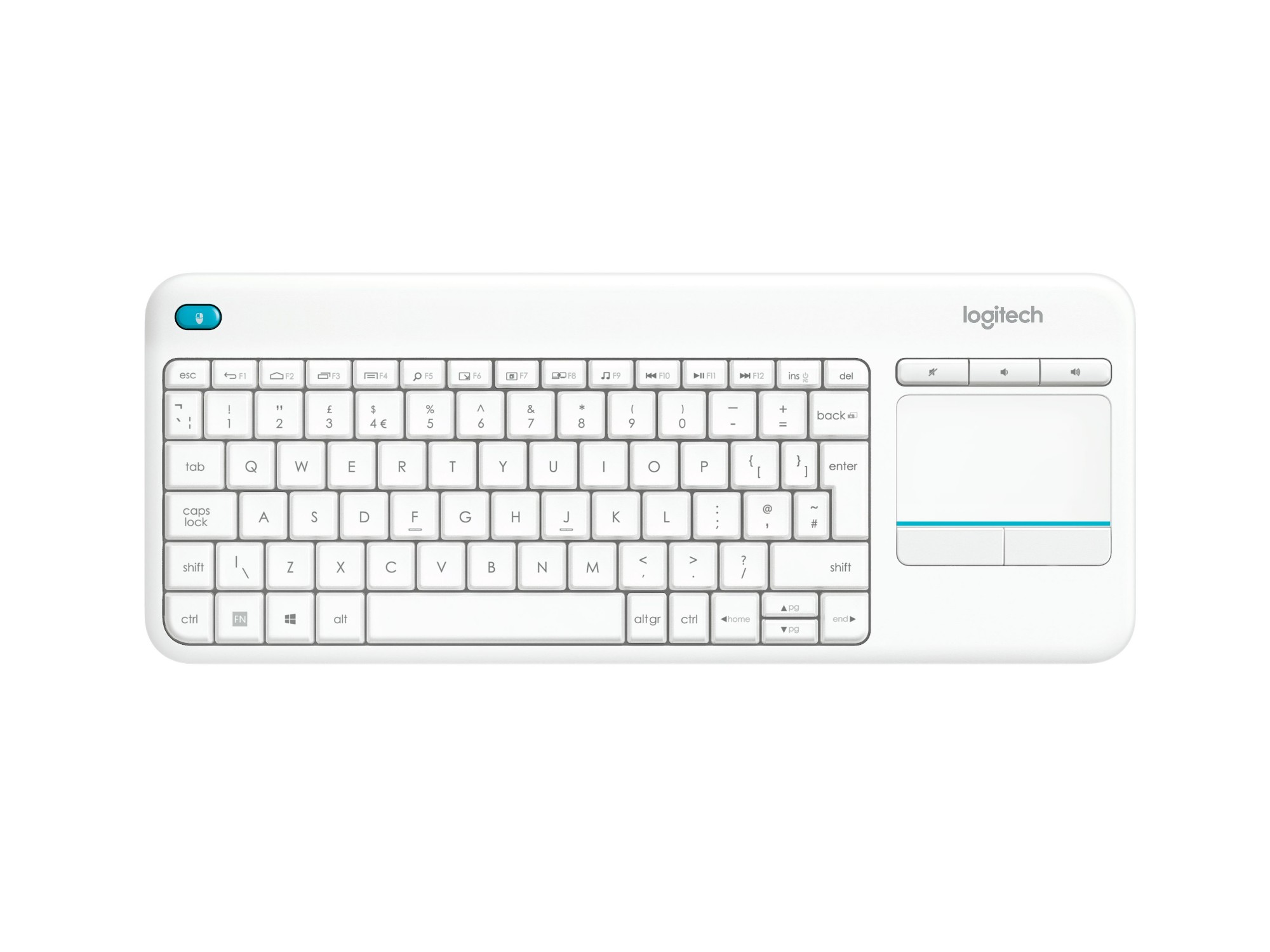 Logitech K400 Plus RF Wireless QWERTY US International White