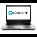 "HP EliteBook 745 G2 Notebook 35.6 cm (14"") 1366 x 768 pixels AMD PRO A8 4 GB DDR3L-SDRAM 500 GB HDD Wi-Fi 4 (802.11n) Windows 7 Professional Black, Silver"