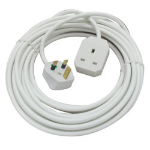 Lindy UK 3 Pin Mains Extension Lead, 10m power cable White Power plug type G BS 1363