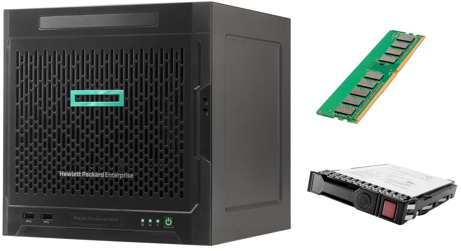 Hewlett Packard Enterprise ProLiant MicroServer Gen10 (P07203-421) + 1x 8GB DDR4 (862974-B21) + 1x 1TB HDD (843266-B21)