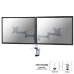 "Newstar Full Motion Dual Desk Mount (clamp & grommet) for two 10-27"" Monitor Screens, Height Adjustable - White"