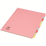 Concord Punched Pocket Subject Dividers Extra Wide 10-Part A4 Assorted Ref 72699