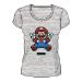 Nintendo Super Mario Bros. Pixelated Jumping Mario T-Shirt, Female, Extra Large, Grey (TS713188NTN-XL)