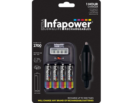 Infapower 1-Hour Home Charger 4 x AA 2700mAh Auto/Indoor battery charger Black