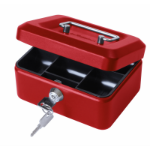 Cathedral Products Value 20cm (8 Inch) key lock Metal Cash Box Red