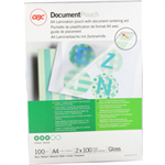 GBC Document Laminating Pouches A4 2x100 Micron Gloss (100)