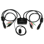 StarTech.com Conmutador Switch KVM 2 puertos HDMI USB Audio con Cables Integrados - 1080p