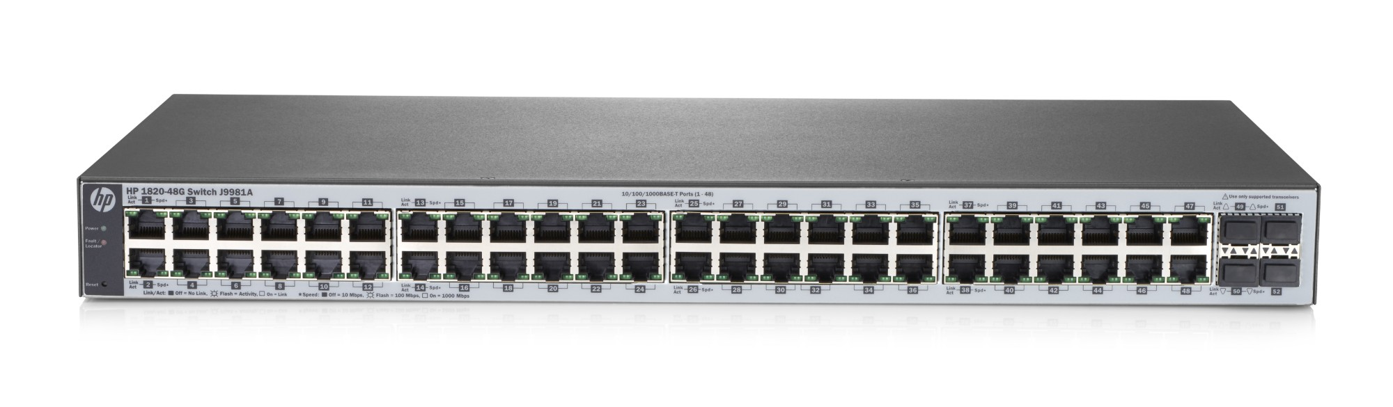 Hewlett Packard Enterprise 1820-48G Managed L2 Gigabit Ethernet (10/100/1000) Grey 1U