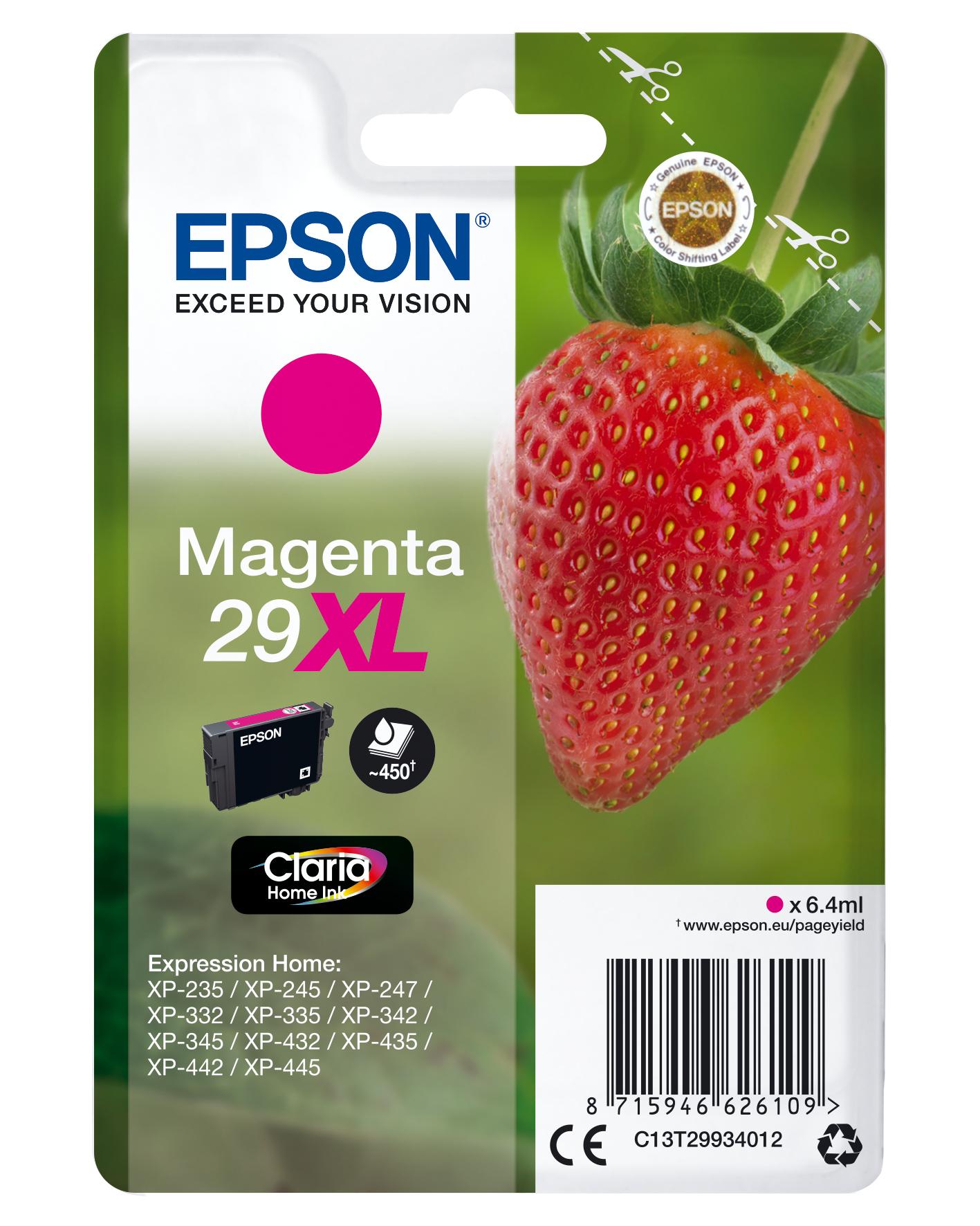 Epson Strawberry Singlepack Magenta 29XL Claria Home Ink
