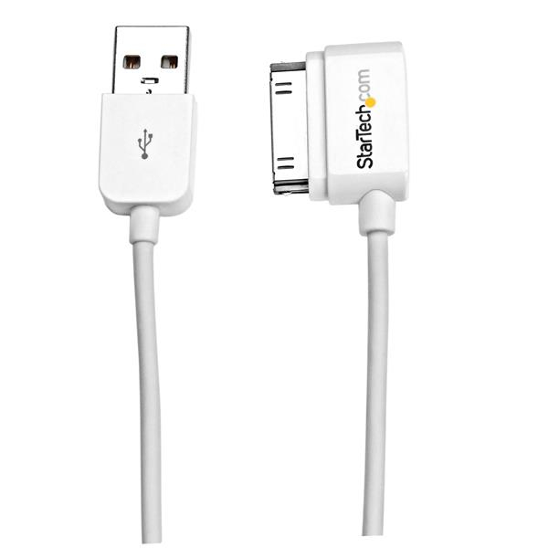 StarTech.com 2m (6 ft) Long Left Angle Apple 30-pin Dock Connector to USB Cable for iPhone / iPod / iPad with Stepped Connector