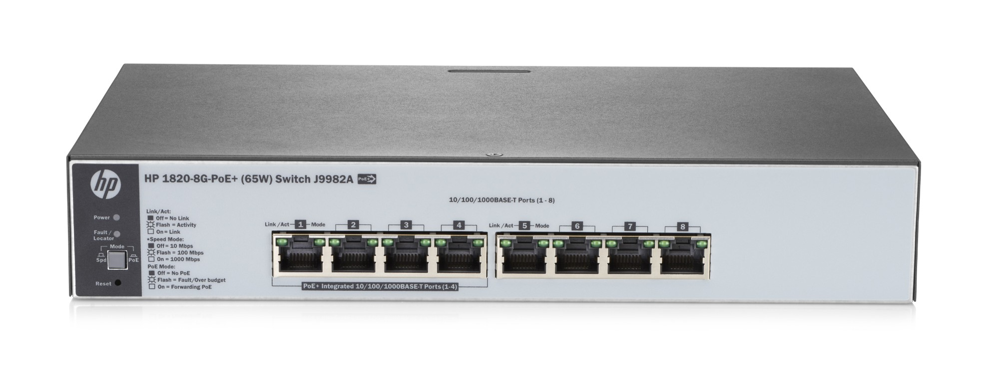 Hewlett Packard Enterprise 1820-8G-PoE+ (65W) Managed network switch L2 Gigabit Ethernet (10/100/1000) Power over Ethernet (PoE) 1U Grey