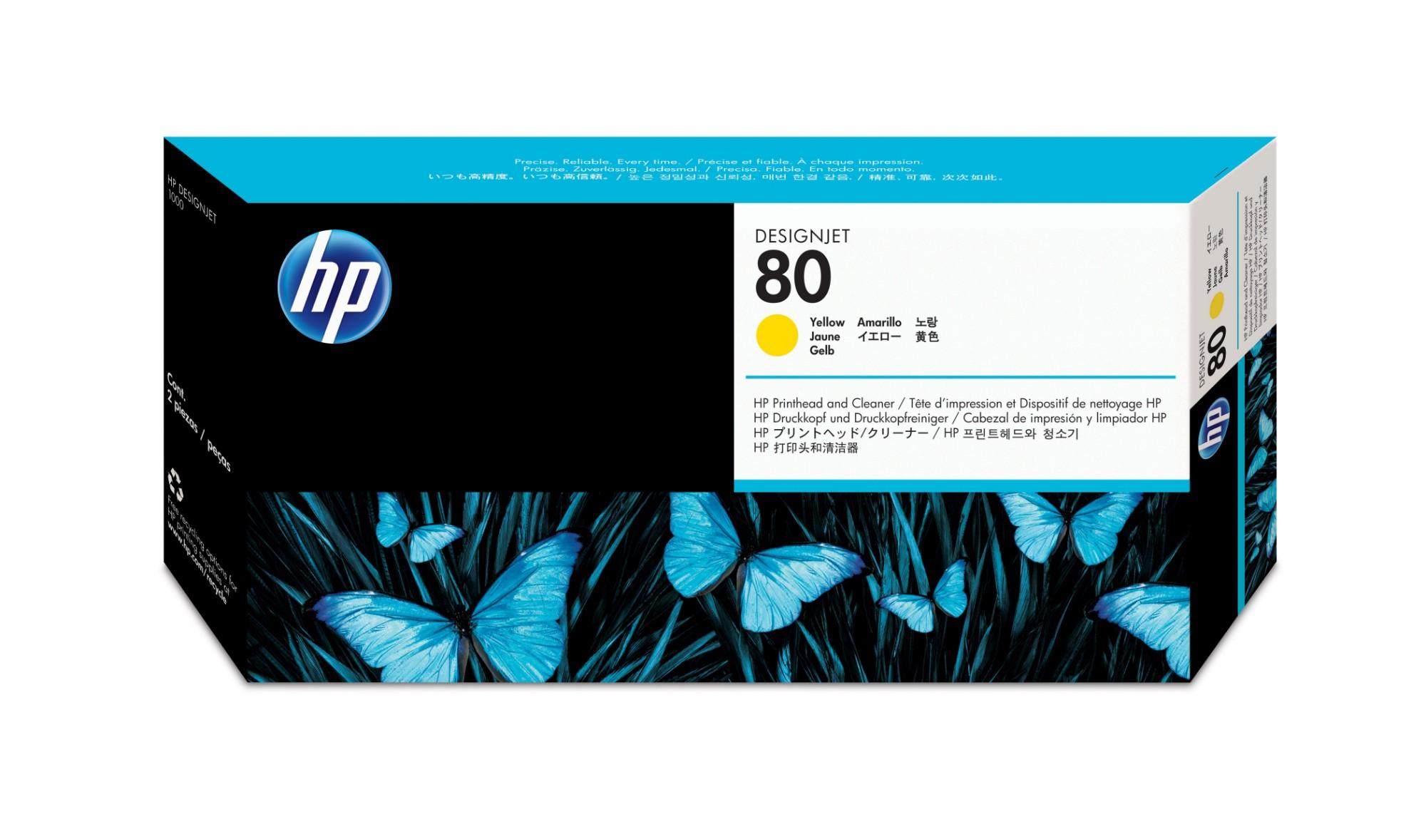 HP Limpiador de cabezales de impresión y cabezal de impresión DesignJet 80 amarillo