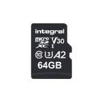 Integral INMSDX64G-180V30 64GB MICRO SD CARD MICROSDXC UHS-1 U3 CL10 V30 A2 UP TO 180MBS READ 80MBS WRITE memory card MicroSD UHS-I