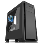CIT Dark Soul Black Midi Case With 1 x 12cm Blue 4 LED Rear Fan Side Window Panel