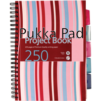 Pukka Project Book Wirebound Perforated Ruled 5-Divider 80gsm 250pp A4 Assorted Ref PROBA4 [Pack 3]