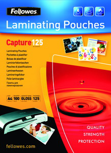 Fellowes Glossy 125 Micron Card Laminating Pouch - 65x95mm