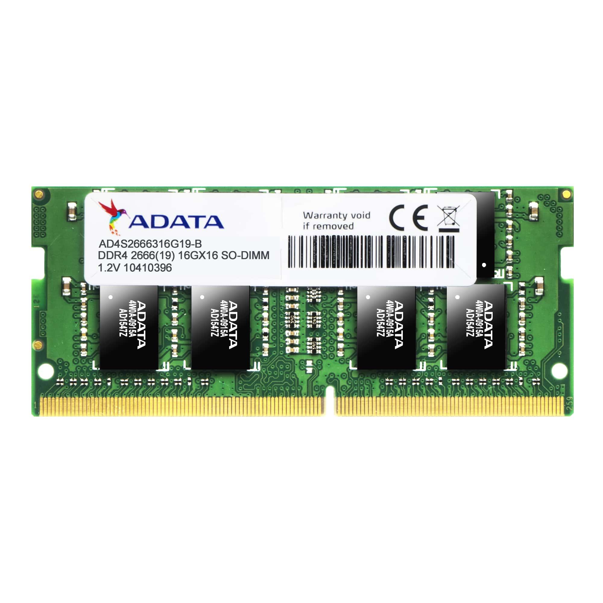 Adata Premier Series - Ddr4 - 8 GB - So-DIMM 260-pin - 2666 MHz / Pc4-21300 - Cl19 - 1.2 V - Unbuffe