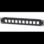 "Intellinet Patch Panel, Blank, 10"", 1U, 10-Port, Black"