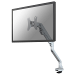 "Newstar Full Motion Dual Desk Mount (clamp & grommet) for two 10-32"" Monitor Screens, Height Adjustable (gas spring) - Silver"