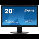 "iiyama ProLite E2083HSD-B1 LED display 19.5"" TN LED 1600x900 16:9 250cd/m² 5ms 2.7kg Black"