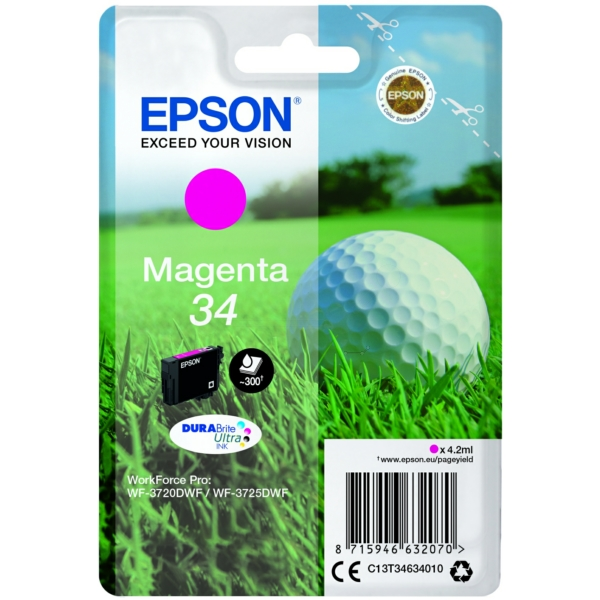 Epson C13T34634010 (34) Ink cartridge magenta, 300 pages, 4ml