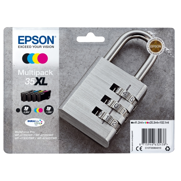 Epson C13T35964010 (35XL) Ink cartridge multi pack, 41,2ml + 3x20,3ml, Pack qty 4