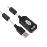 VCOM USB A M/USB A F 10m USB cable Black,Transparent,White