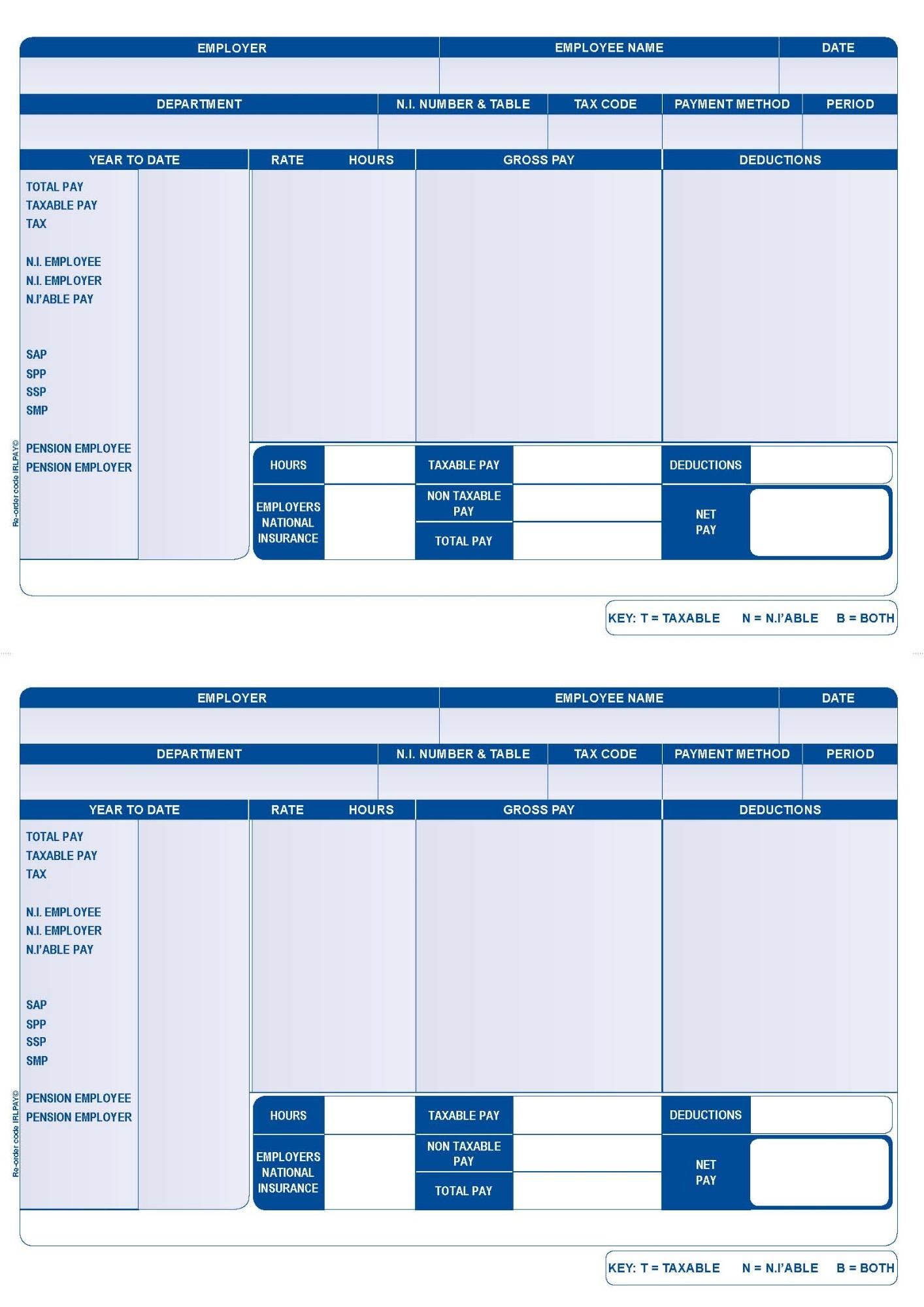 Custom Forms Iris Compatible Laser/Inkjet Payslip BX1000