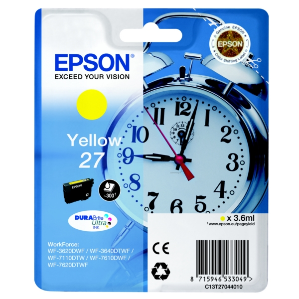Epson C13T27044010 (27) Ink cartridge yellow, 300 pages, 4ml