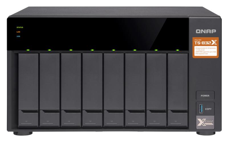 QNAP TS-832X Ethernet LAN Toren Zwart NAS
