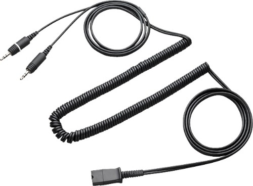Plantronics Quick Disconnect cable to dual 3.5mm telephony cable Black