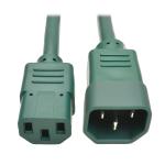 Tripp Lite Standard Computer Power Extension Cord, 10A, 18 AWG (IEC-320-C14 to IEC-320-C13), Green, 0.61 m