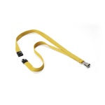 Durable Textile lanyard SOFT COLOUR Ochre strap Badge holder Metal, Textile Yellow