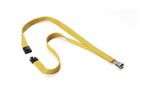 Durable Textile lanyard SOFT COLOUR Ochre strap Badge holder Metal, Textile Yellow