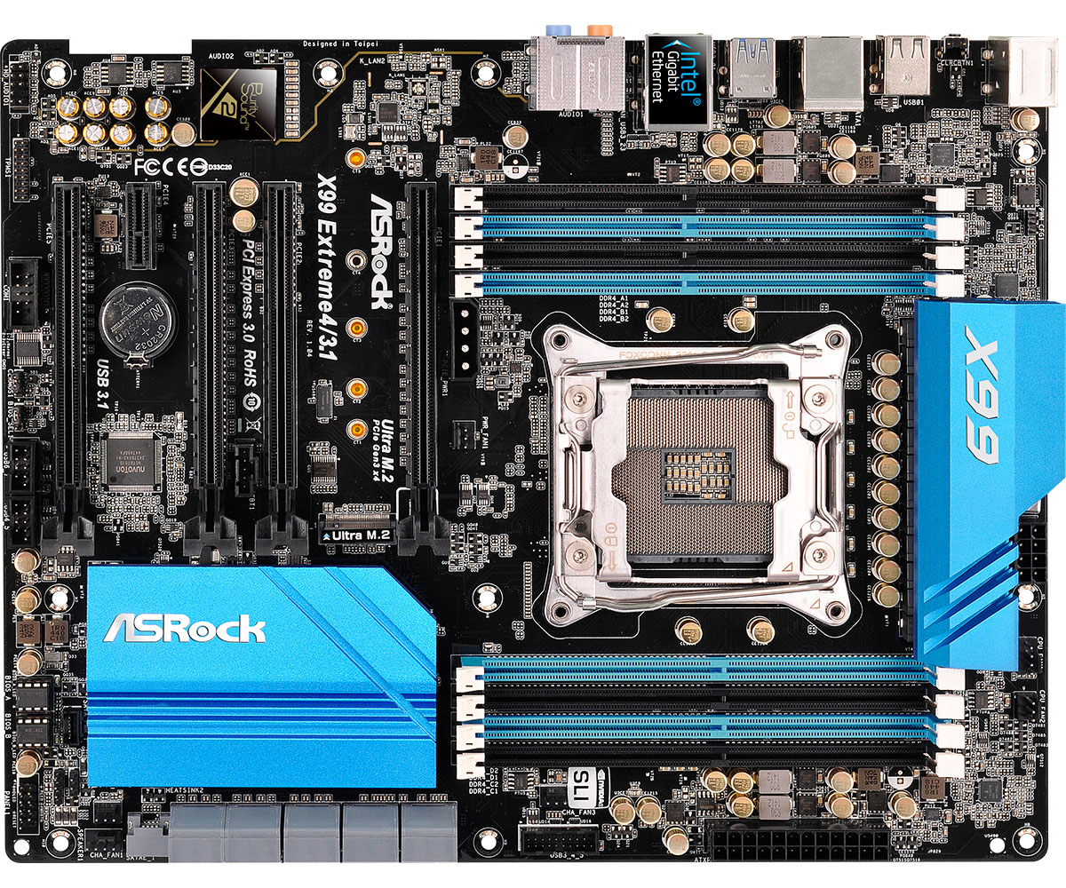 ASROCK X99 EXTREME4/3.1 Intel X99 2011-3 ATX DDR4 SLI/XFire USB 3.1 Card M.2 eSATA