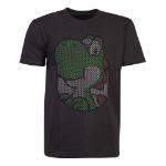 Nintendo Super Mario Bros. Yoshi Rubber Print T-Shirt, Male, Extra Large, Black (TS771604NTN-XL)