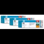 HP C9486A (91) Ink cartridge bright cyan, 775ml, Pack qty 3