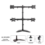 "Newstar Tilt/Turn/Rotate Quad Desk Mount (stand, clamp & grommet) for four 10-27"" Monitor Screens, Height Adjustable - Black"